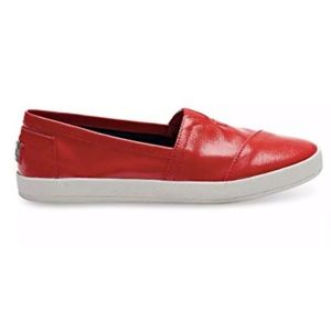 Toms Avalon Red Linen Patent Loafers Slip On Shoes